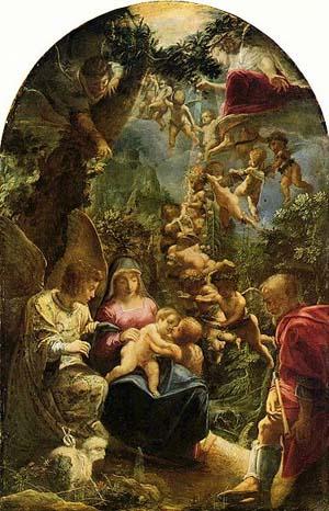 「洗礼者ヨハネと天使たちのいる聖家族」