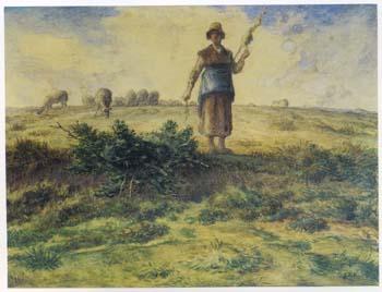 ミレー 「羊飼いの少女と羊の群れ」
