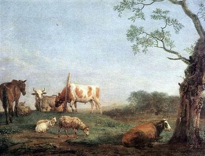 「休息する家畜の群れ」
