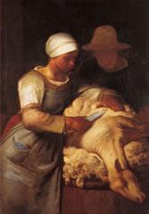 ミレー「羊の毛を刈る人」(1860)