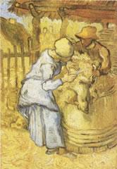 ゴッホ「羊の毛を刈る人(ミレーによる)」