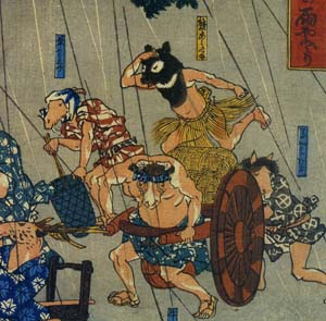 国芳 「道外獣の雨やどり」