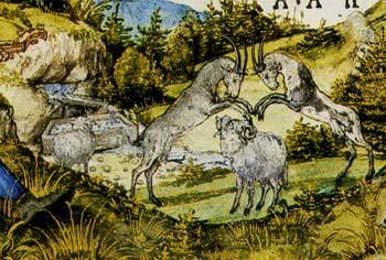 「『牧歌』のための扉絵細密画」(部分)