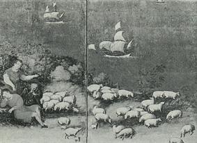 牧人と羊 「狩猟図のある西洋風俗画屏風」より