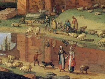 「カンパーニャ地方の羊飼い」(部分)