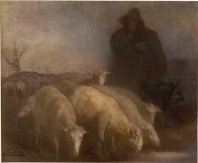 「羊飼いと羊の群れ」