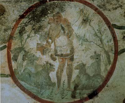 サンティ・ピエトロ・エ・マルチェリーノのカタコンベの羊飼い