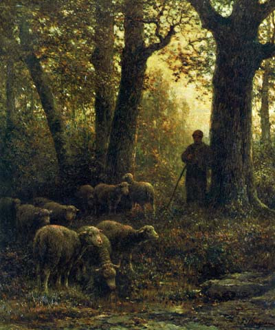 「フォンテーヌブローの森の羊飼いと羊」