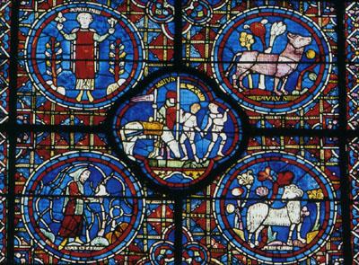 シャルトル大聖堂のステンドグラスの黄道十二宮