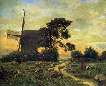 ダモア「風車のそばの羊飼いと羊」