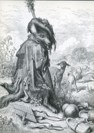 「牧童になったオオカミ」挿画