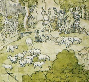 「多くの動物のいる聖母子」(部分)