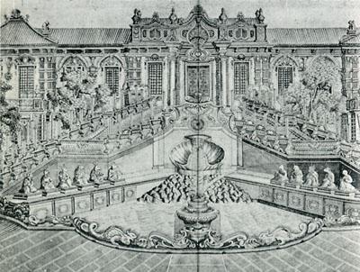銅版画「長春園西洋楼図」のうち「海晏堂西面」