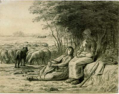 ミレー「二人の羊飼いの少女」