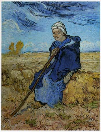 ゴッホ「羊の番をする女」