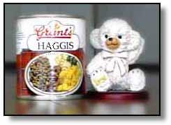 ハギスの缶詰とぬいぐるみ