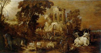 「動物のいる廃墟のある風景」