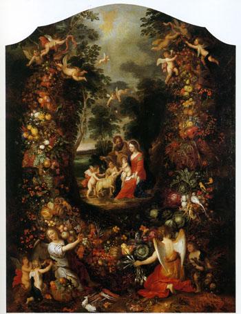 「花と果実の輪にかこまれた聖家族」