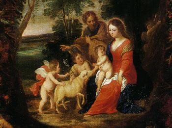 「花と果実の輪にかこまれた聖家族」(部分)