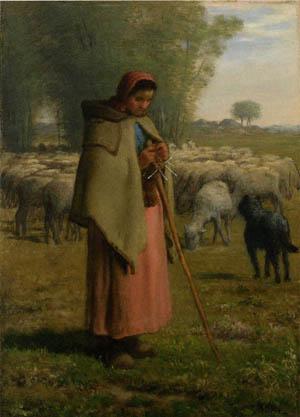 「羊飼いの少女、バルビゾンの平原」