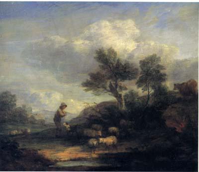 「羊飼いと羊のいる風景」