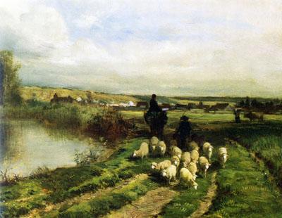 「羊と羊飼いのいる風景」