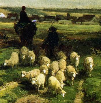「羊と羊飼いのいる風景」(部分)