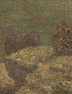 「祈りを捧げる少女時代の聖ジュヌヴィエーヴ」(部分)