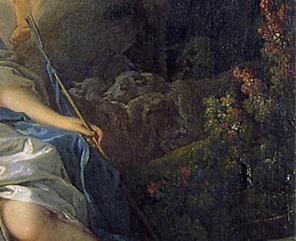 「羊飼いの娘イセに神であることを明かすアポロン」(部分)