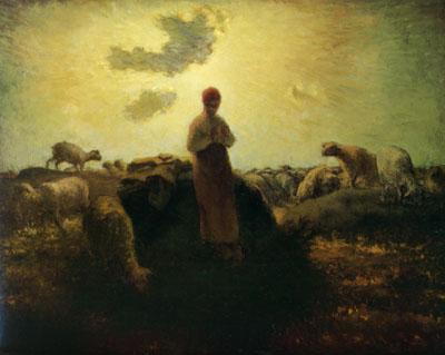 「岩間で羊の番をする羊飼いの女」