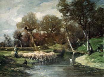 「羊飼いと羊の群」