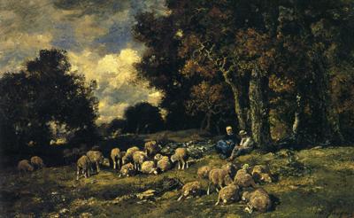 「森の中の羊飼いと羊の群れ」
