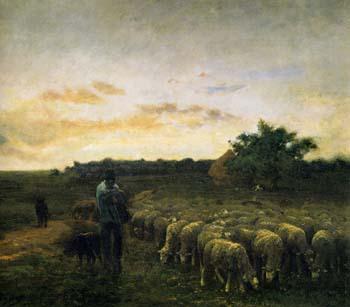 「夕暮れの羊飼いと羊」
