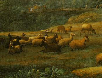 「ヤコブとラバンとその娘たちのいる風景」(部分)
