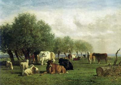 「樹木のある風景の中の牛と羊」