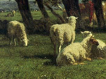 「樹木のある風景の中の牛と羊」(部分)