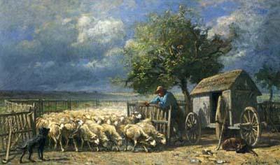 ジュール・エロー 「羊小屋の開門」