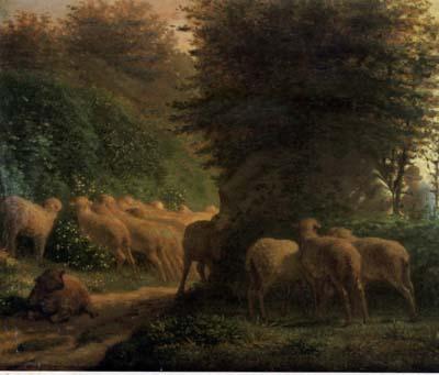 ミレー 「垣根に沿って草をはむ羊」