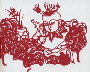 剪紙の三羊