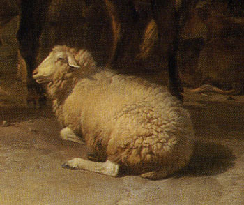 「休息する牛」(部分)