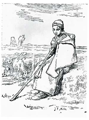 ジャン=フランソワ・ミレー「女の羊飼い」に拠るジャン=バティスト・ミレーの木版画