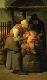 ミレー「羊の毛を刈る人」(1852?53頃)