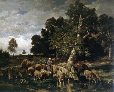 「羊に水を飲ませる羊飼いの女」