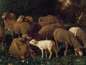 「森の中の羊の群れ」(部分)