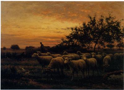 「バルビゾンの野の羊飼いと羊の群れ」