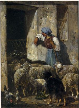 「羊の群の帰り」