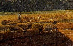 「羊と縫い物をする女のいる風景」(部分)