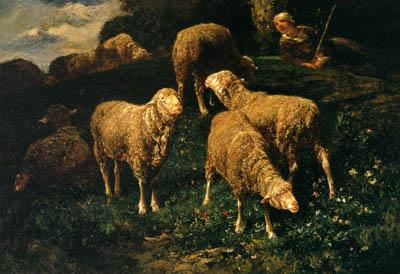 「丘の上の羊飼いの少女と羊の群れ」