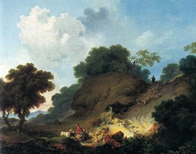 「丘を下る羊の群れ」
