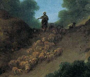「丘を下る羊の群れ」(部分)
